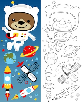Coloring book with vector set of outer space cartoon