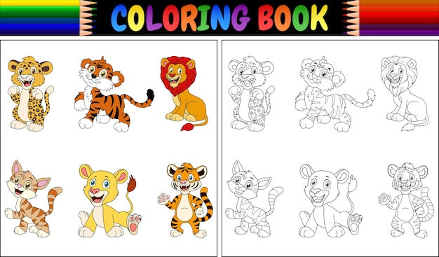 Coloring book with wild cats collection