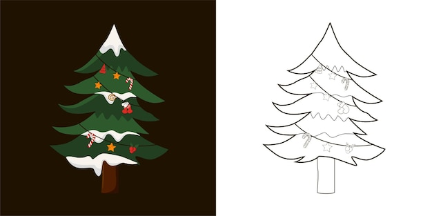 Coloring bookchristmas tree