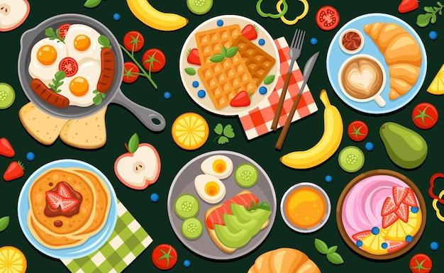 卵の果物と甘いパンケーキを使ったさまざまな料理のセットで朝食の黒板の構成を着色する