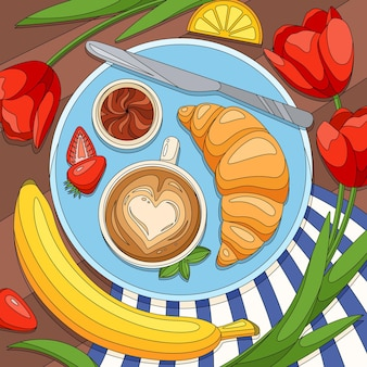 Coloring breakfast croissant coffee composition with flowers and banana fruit strawberry slices on top of table
