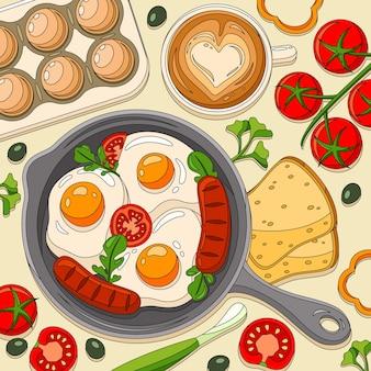 朝食の目玉焼きトーストの組成物をフライパンで着色し、スクランブルソーセージとトマトをテーブルに並べる
