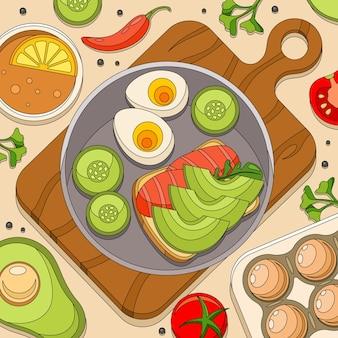 도마와 점심 재료가 있는 식탁의 꼭대기 전망이 있는 착색 아침 샌드위치 구성