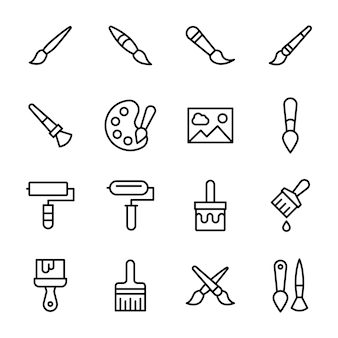 Coloring brush line icons pack