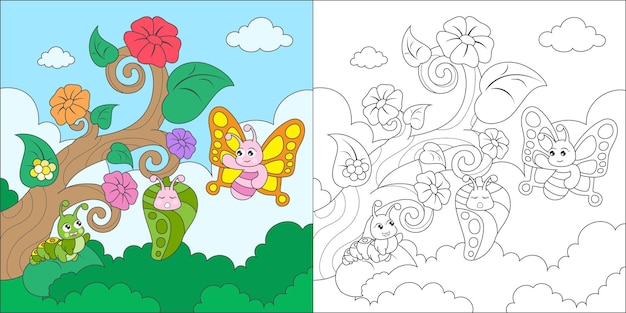 Coloring butterfly metamorphosis