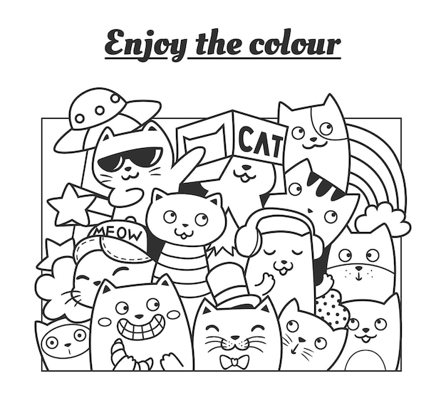 Coloring cats funny doodle