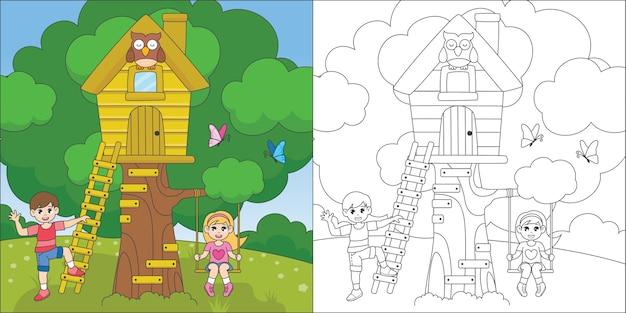 ツリーハウスで遊ぶ子供たちの着色