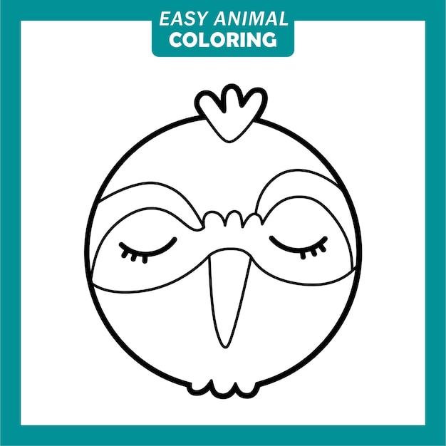 새와 함께 귀여운 동물 머리 만화 캐릭터를 색칠