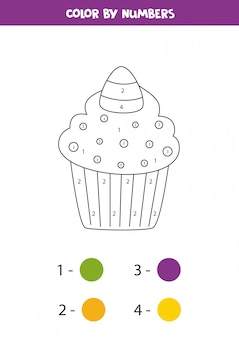Coloring cute halloween candy cupcake by numbers. math game.