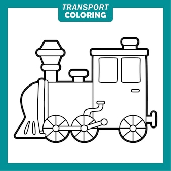 Coloring cute transportation vehicle cartoon characters with locomotive