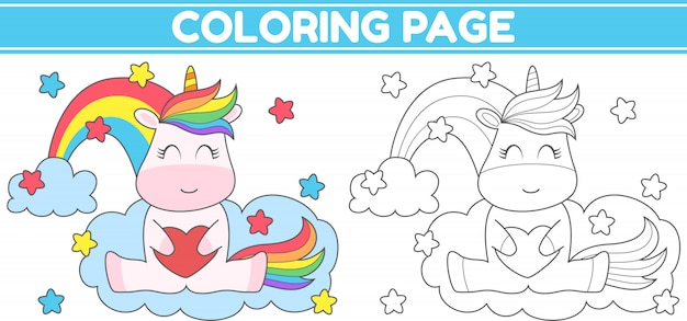 Coloring cute unicorn holding heart
