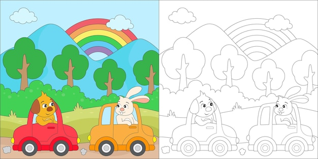 Coloring dog and rabbit