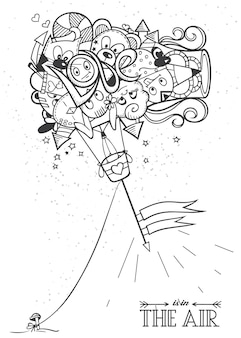 Раскраски каракули воздушный шар любовь. черно-белый рисованный