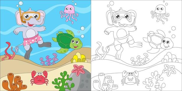 Раскраска слонёнок с маской и трубкой в море