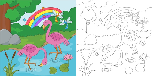 Coloring flamingo