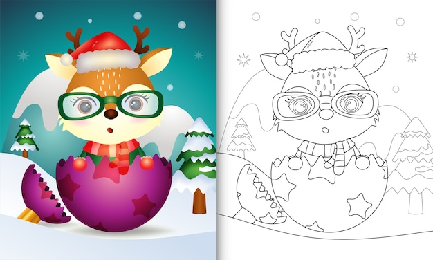 Раскраска для детей с милым оленем в шапке санта-клауса и шарфе на елочном шаре