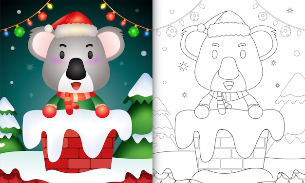Раскраска для детей с милой коалой в шапке санта-клауса и шарфе в дымоходе