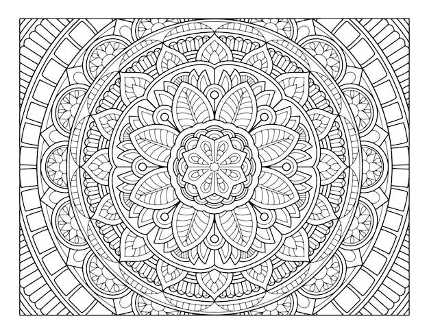 フルページの曼荼羅のデザインを着色