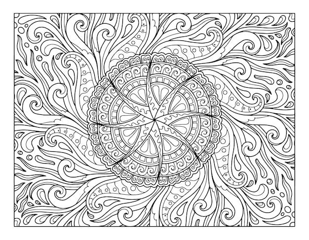 Раскраска дизайн мандалы на всю страницу