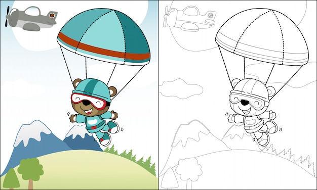 Coloring funny skydiver cartoon