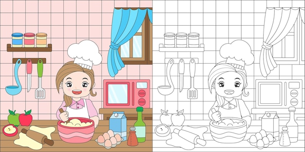 Раскраска девочка, печет торт