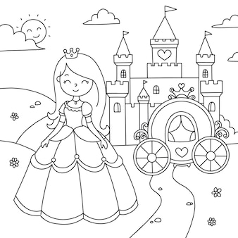 Coloring landscape beautiful princess with a carriage near the castle