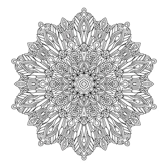 黒と白のスタイルの背景で曼荼羅を着色