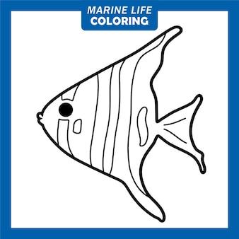 Coloring marine life cute cartoon characters angelfish