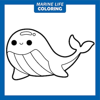 Coloring marine life cute cartoon characters blue whale