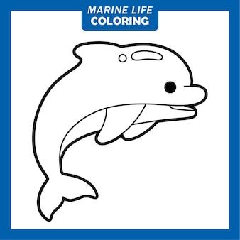 Coloring marine life cute cartoon characters dolphin
