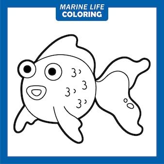 Coloring marine life cute cartoon characters goldfish