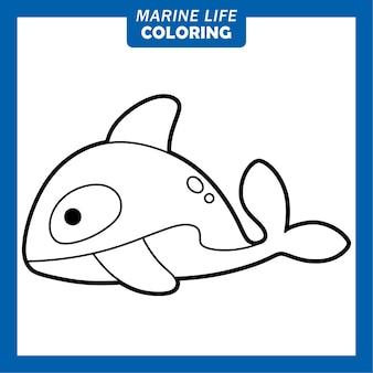 Coloring marine life cute cartoon characters killer whale