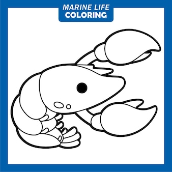 Coloring marine life cute cartoon characters lobster