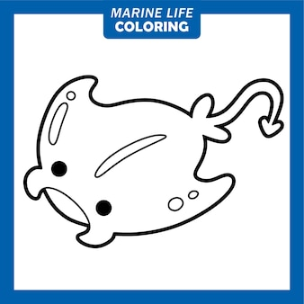 Coloring marine life cute cartoon characters manta ray