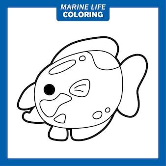 Coloring marine life cute cartoon characters queen parrot