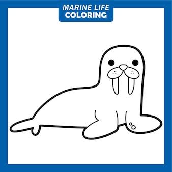 Coloring marine life cute cartoon characters walrus