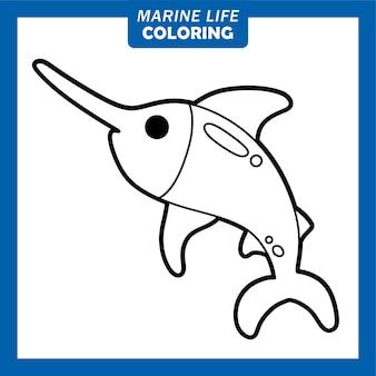 Coloring marine life cute cartoon characters xiphias