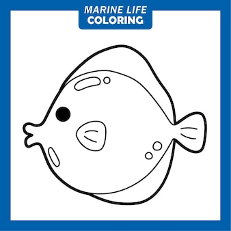 Coloring marine life cute cartoon characters yellow tang