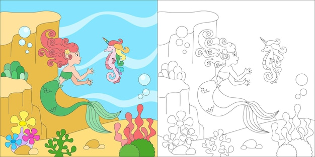 Coloring mermaid and sea horse