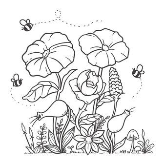 自然の庭の花の落書きを着色