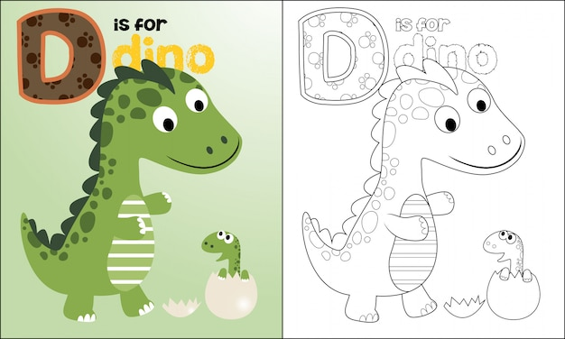 Coloring of nice dino cartoon
