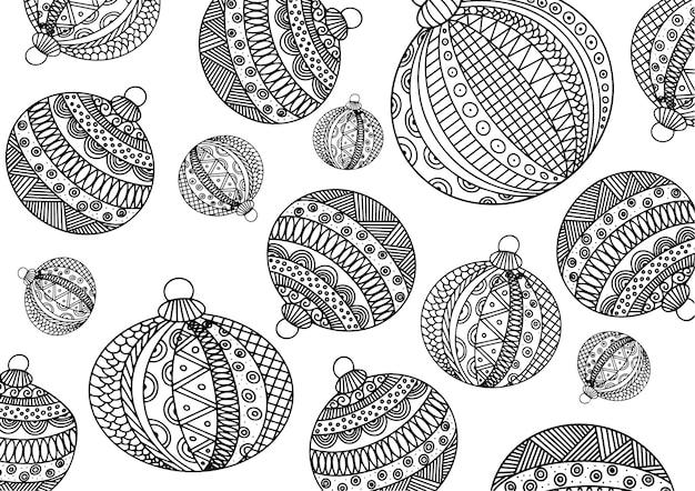 多くのクリスマスツリーボールの着色子供と大人のための抗ストレス着色zentangle