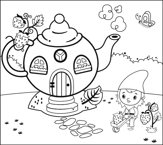 Coloring page activity with gnome for children vector illustration
