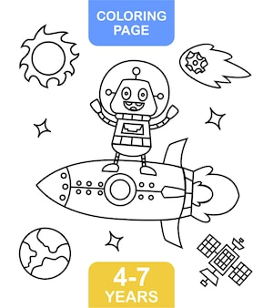 Coloring page alien on space for kids