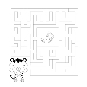 カワイイタイガーとスイカのぬりえと迷路ゲーム