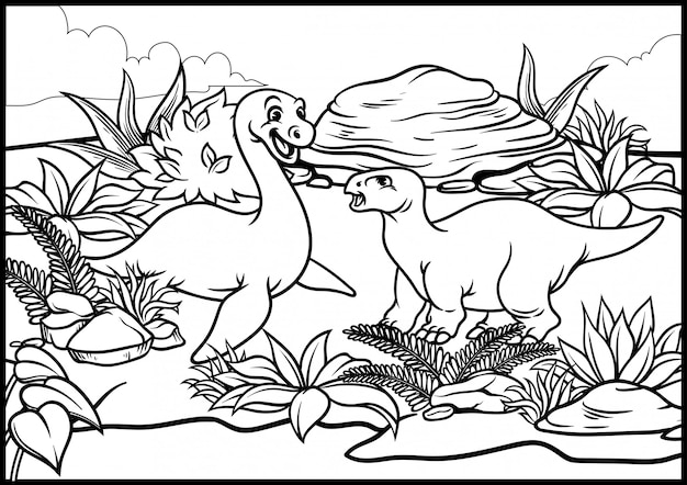 Coloring page of cartoon dinosaurus world