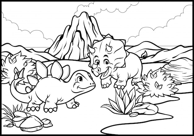 Coloring page of cartoon triceratops and stegosaurus