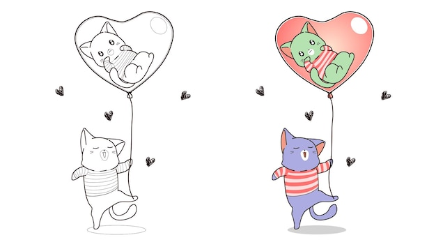 Coloring page cat is holding heart balloon with a cat  inside