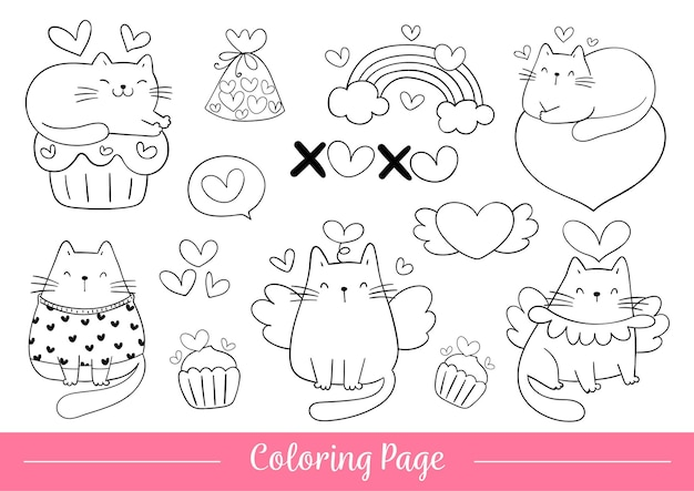 Coloring page cat for valentine's day.
