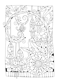 Coloring page for children and adults. fantasy flowers, buds and a butterfly. black and white background for coloring.  illustration.
